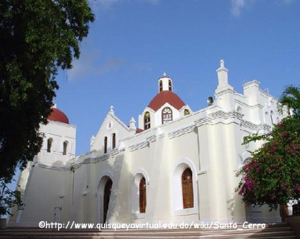 Iglesia Santo Cerro is atop a hill near the town of La Vega