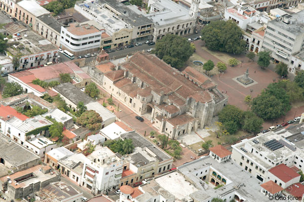 aerial view of the cathedral de santa maria, parque colon and the surrounding area in colonial zone, dominican republic