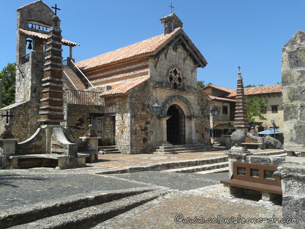 The Church of San Estanislao is in the center of the village altos de chavon