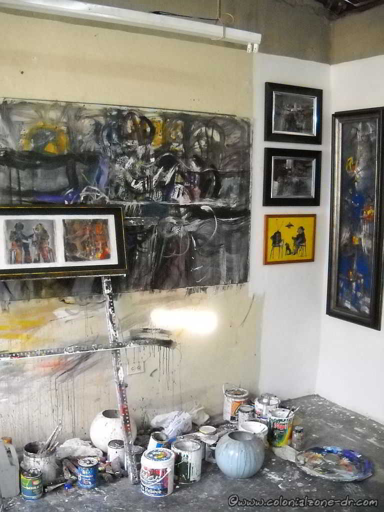 Artist Luis Oviedo W. Galeria.with works in progress