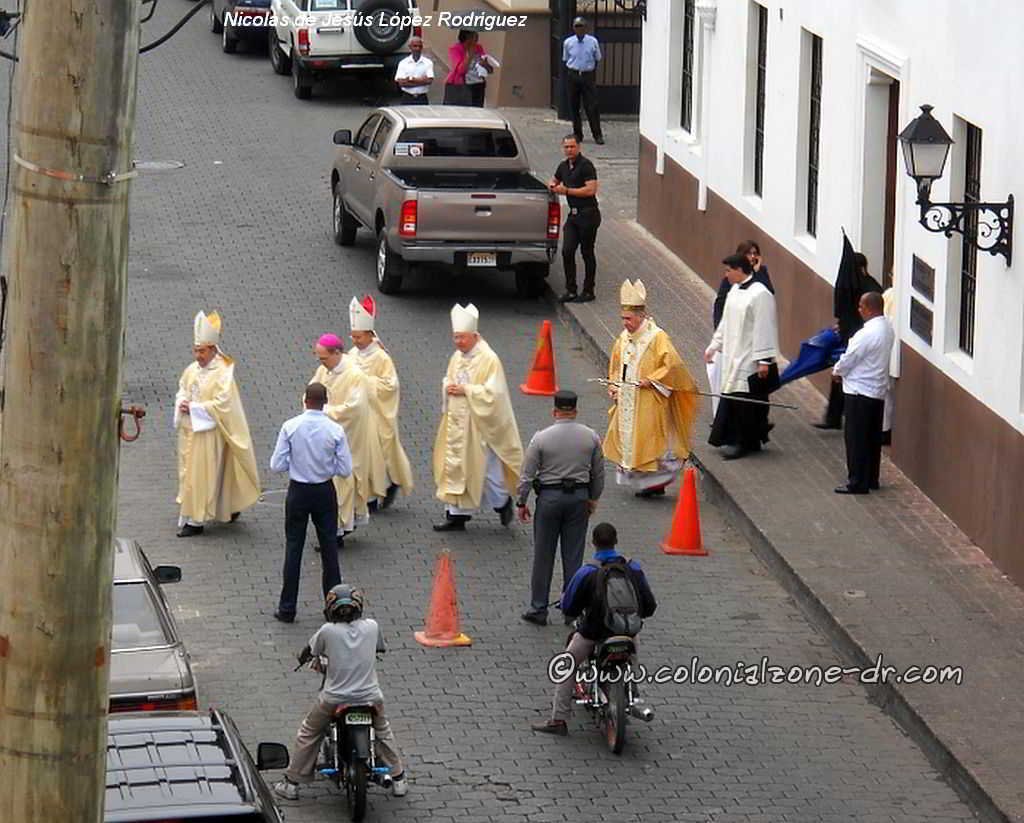 Cardinal Nicolas de Jesus Lopez Rodriguez and the Bishops heading to mass at the Cathedral in Ciudad Colonial