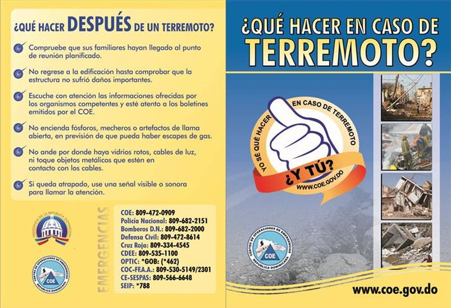 what to do after an earthquake in ominican republic spanish emergency telephone numbers