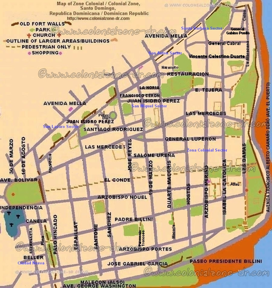 Colonial Zone Map Santo Domingo Dominican Republic