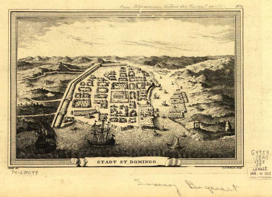 1755 Map Of The Walled City Of Santo Domingo Colonial Zone