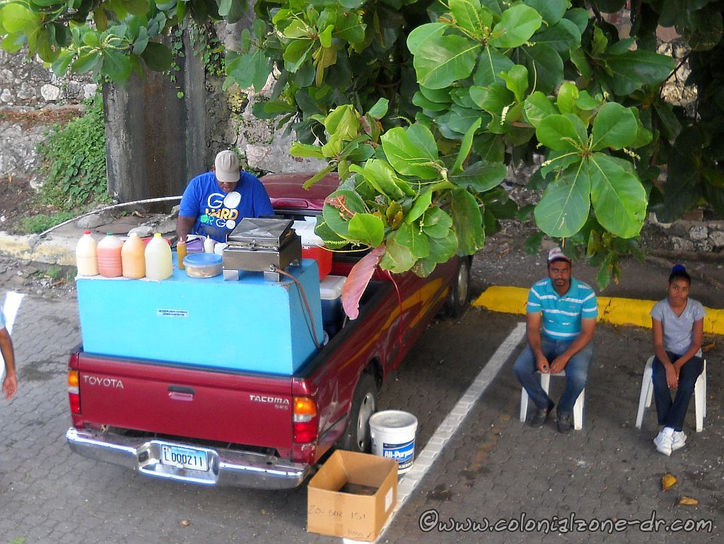 food truck with sandwich grill and assorted juices at the port in santo domingo