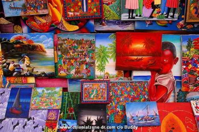 Example of the brightly colored Haitian art for sale in Dominican Republic