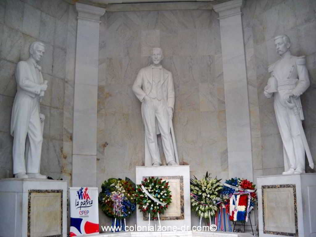 marble statues of Duarte, Sanchez, Mella founding fathers of Dominican Republic