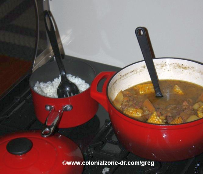 pot of sancocho with rice