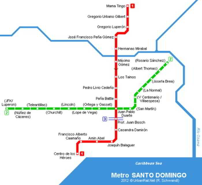 Santo Domingo Metro route map lines 1 and 2