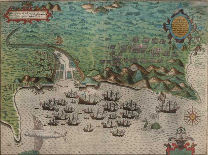 Sir Francis Drake map of Santo Domingo