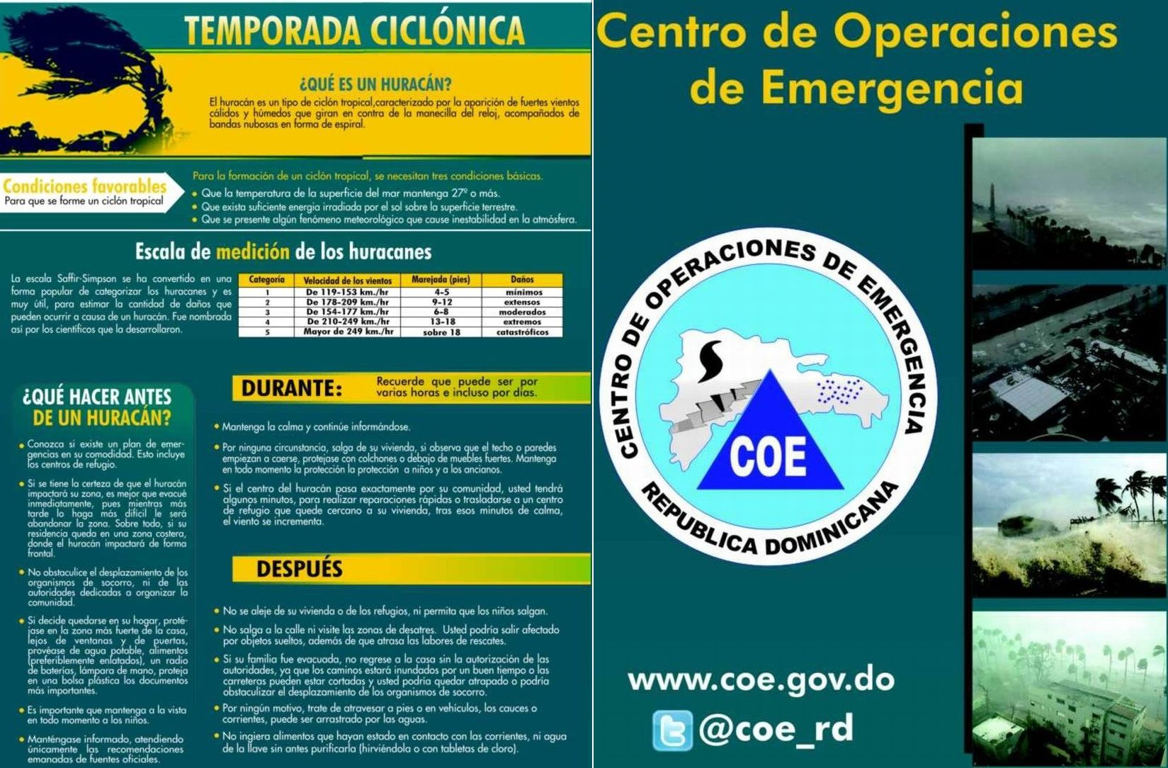 Pamphlet put out by the Emergency Center in DR. It is a large file. Please click to open and read (in Spanish). Feel free to save it for reference.