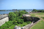 view from fortaleza ozama seeing the rio ozama and the caribbean sea, santo domingo