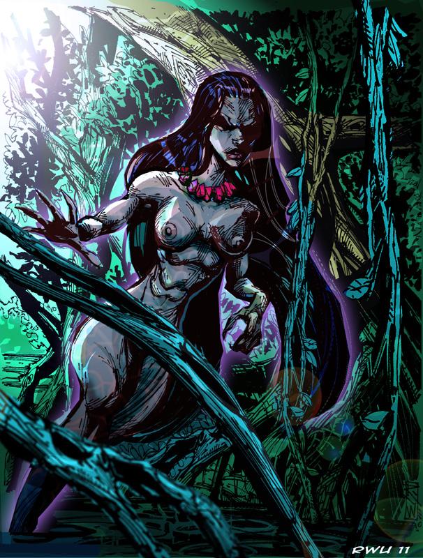 Dominican Republic myths and legends Ciguapa interpretation by Artist-Illustrator Ray Wu