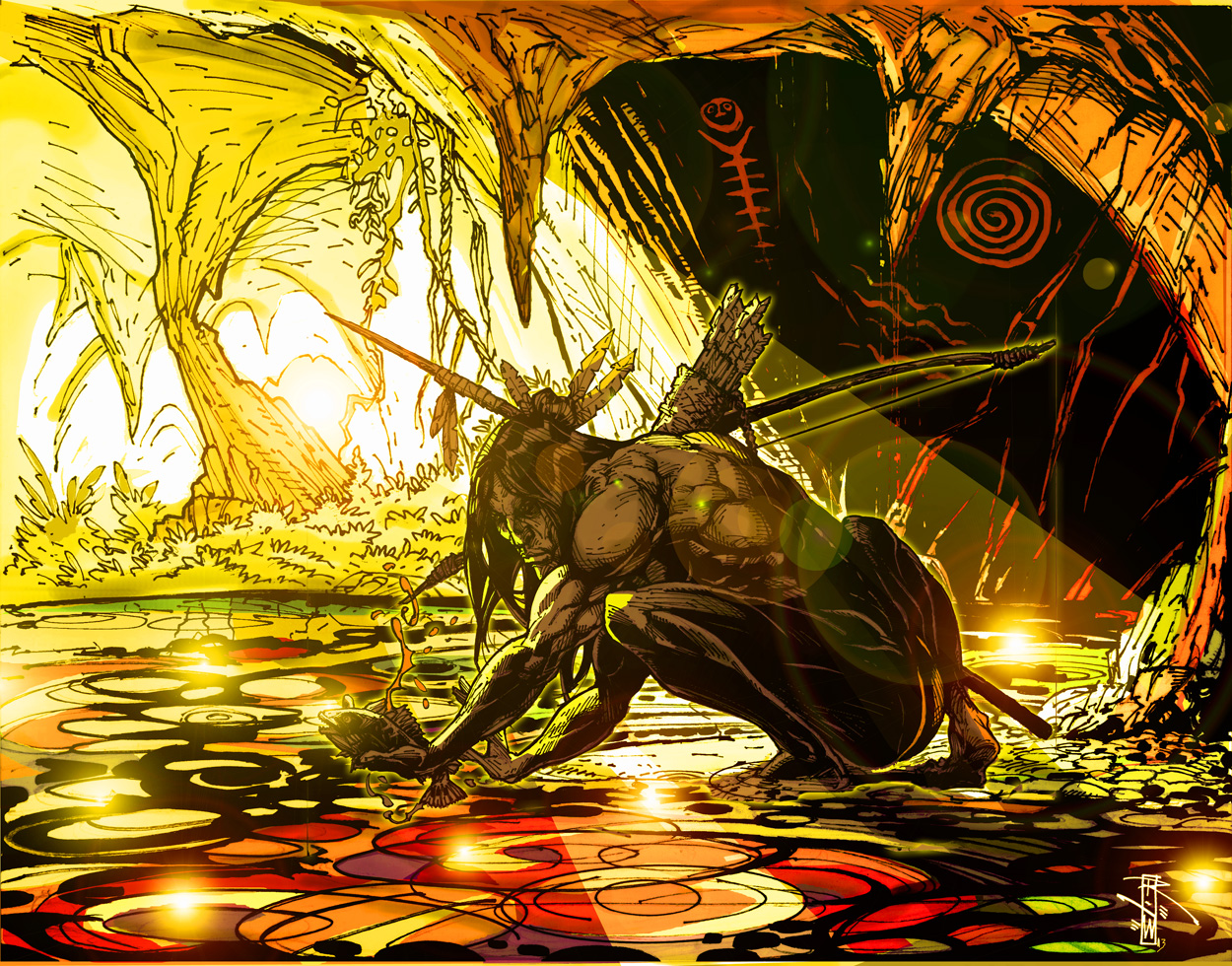 Interpretation of Los Indios De Las Augas by Artist-Illustrator Ray Wu