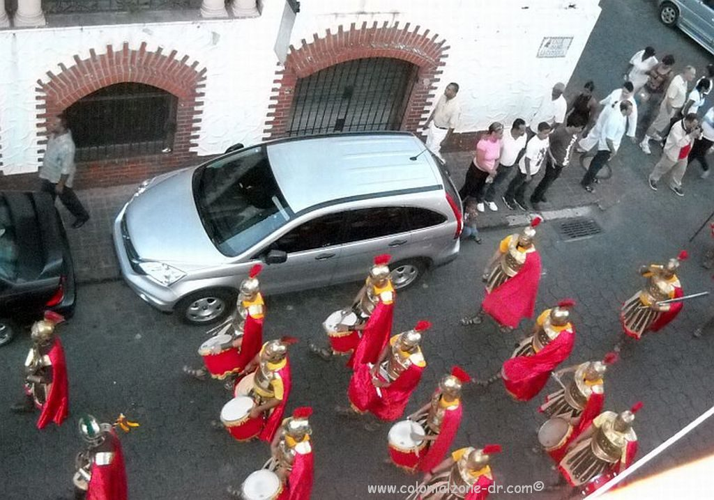 The Semana Santa in the Colonial Zone procession band dressed as Roman Soldiers.
