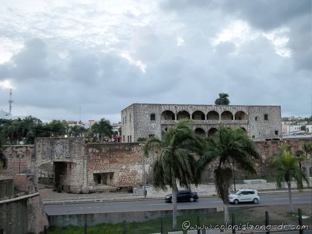 The Palacio Virreinal Alcazar de Colon and the Puerta San Diego as seen from the Malecon entering the Colonial City.