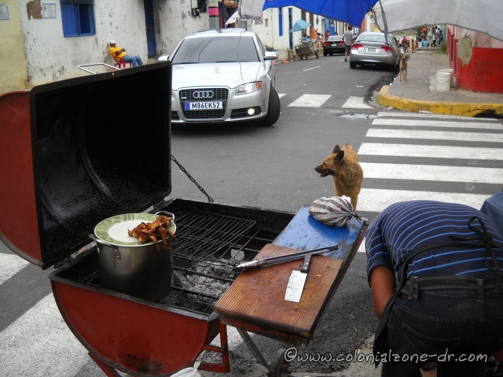 Nice fresh barbecue sold by a street vendor in Barrio Santa Barbara.