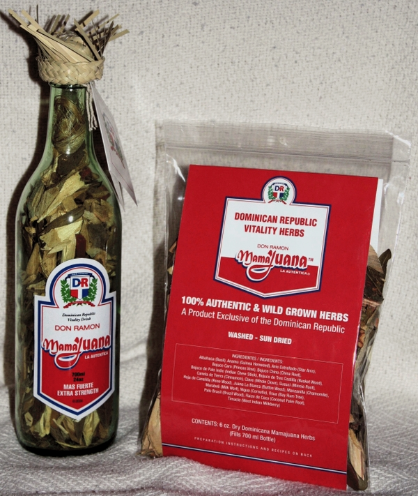 6.8oz. Poly bag of Dominican Republic mamajuana and example bottle.