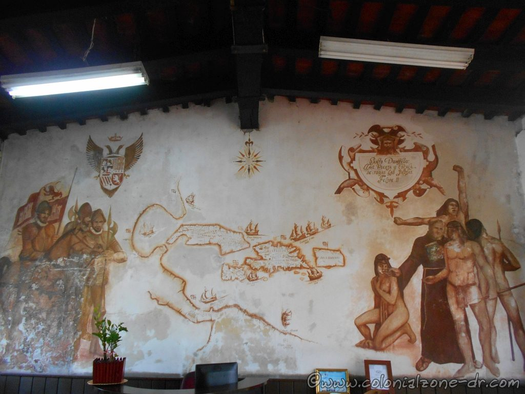 A painting inside the offices of the Alcazar Colón, Plaza España, Colonial Zone.