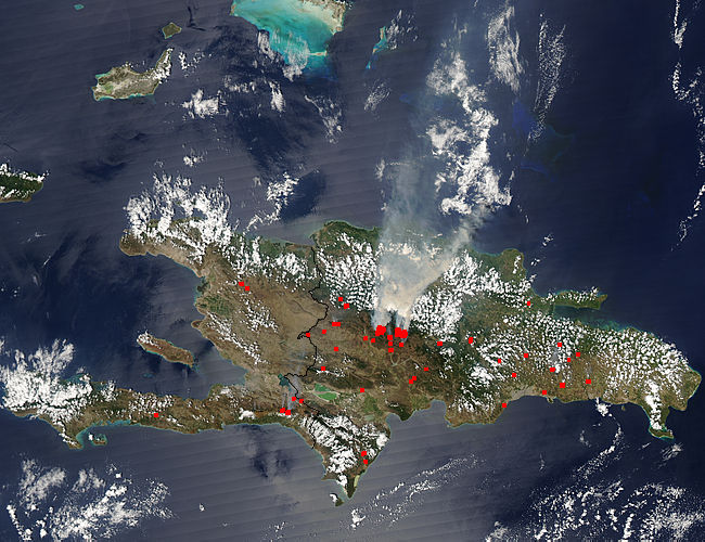 Satellite view of Dominican Republic Wildfires in 2008