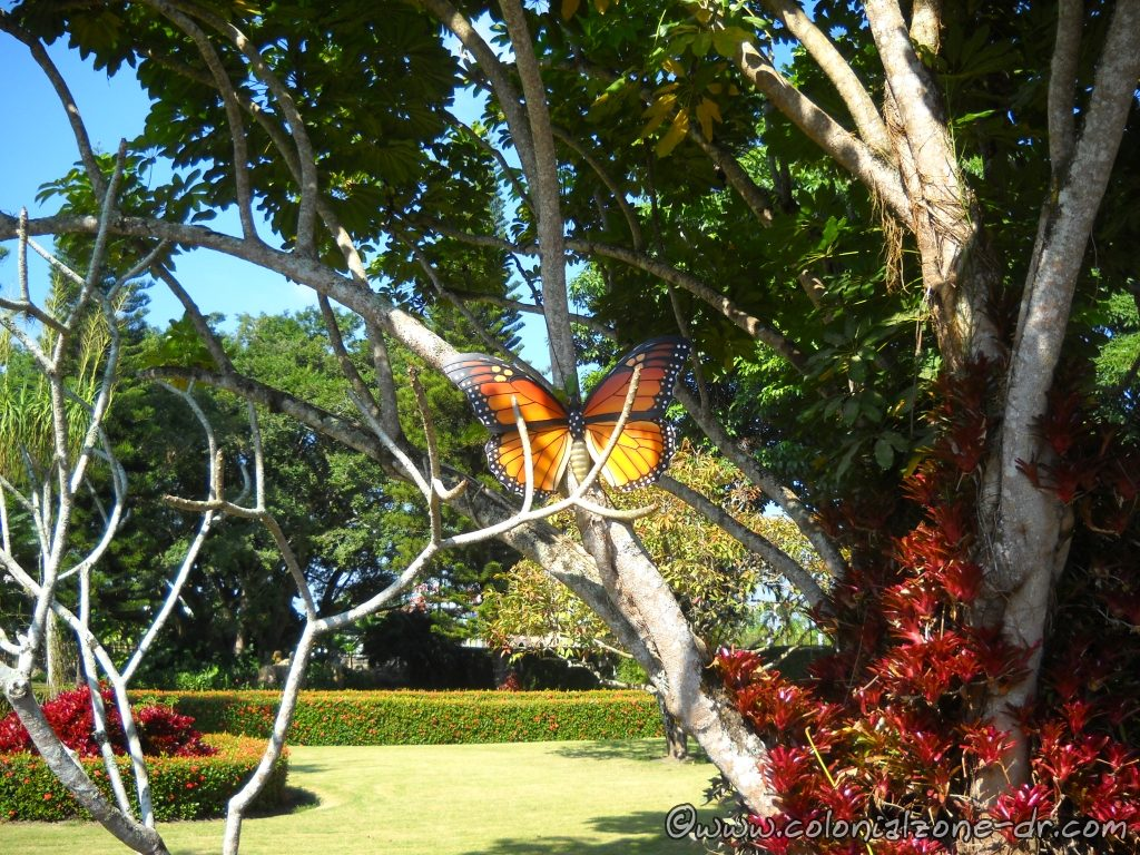 This butterfly is one of the many located throughout the gardens at the Hermanas Mirabal Museo