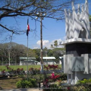 Plazoleta Hermanas Mirabal - Mirabal Sisters butterfly monument and baseball field