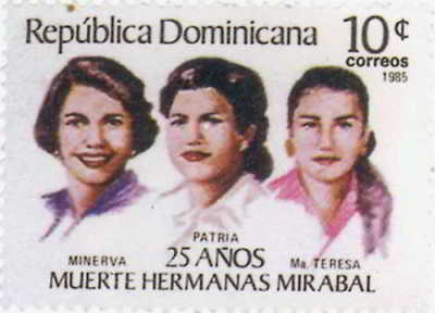 A 10 cent Dominican Republic stamp from 1985 to commemorate the death of the Hermanas Mirabal
