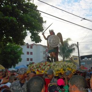 Festival San Miguel Iglesia San Miguel - The image of San Miguel going down the street