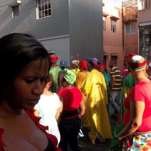 Festival San Miguel- traditional clothing red, green and yellow.