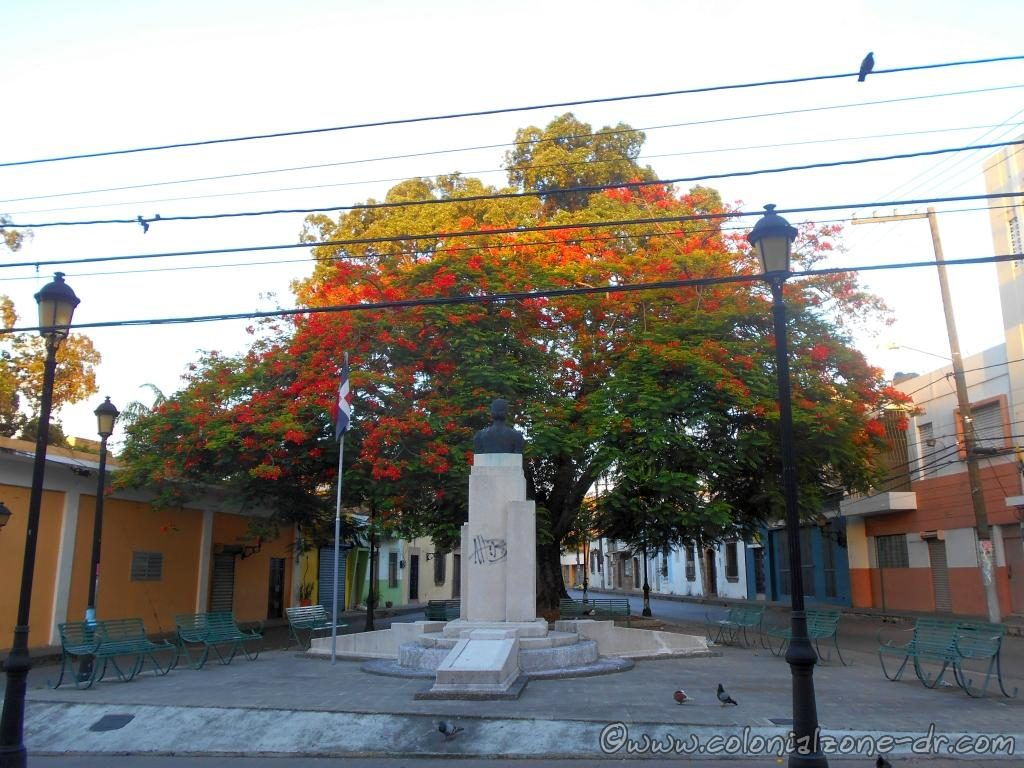 Parque Maria Trinidad Sánchez under the Flamboyant Tree.