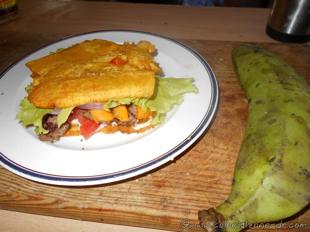 A Hamburger with a Fried Platano Bun