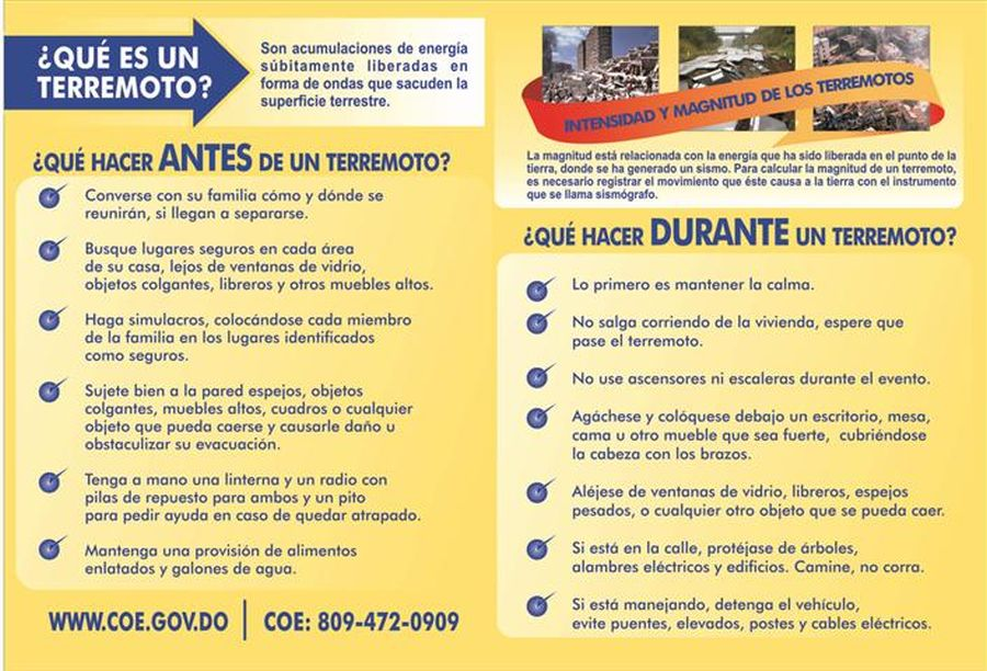 COE Instructional Brochure - What to do before earthquake in Spanish
