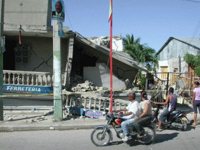 September 2003 Earthquake in Puerta Plata Dominican Republic observing the damage
