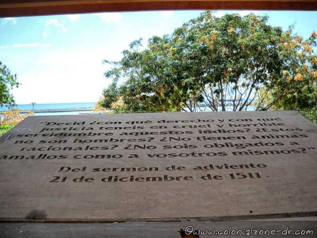 A quote from Montesino speach displayed inside the monument
