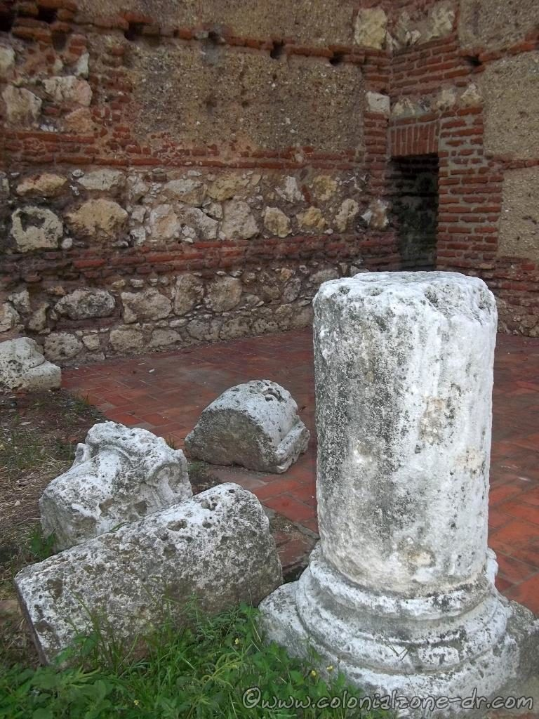 Some of the original pillars are saved inside the ruins of the hospital.