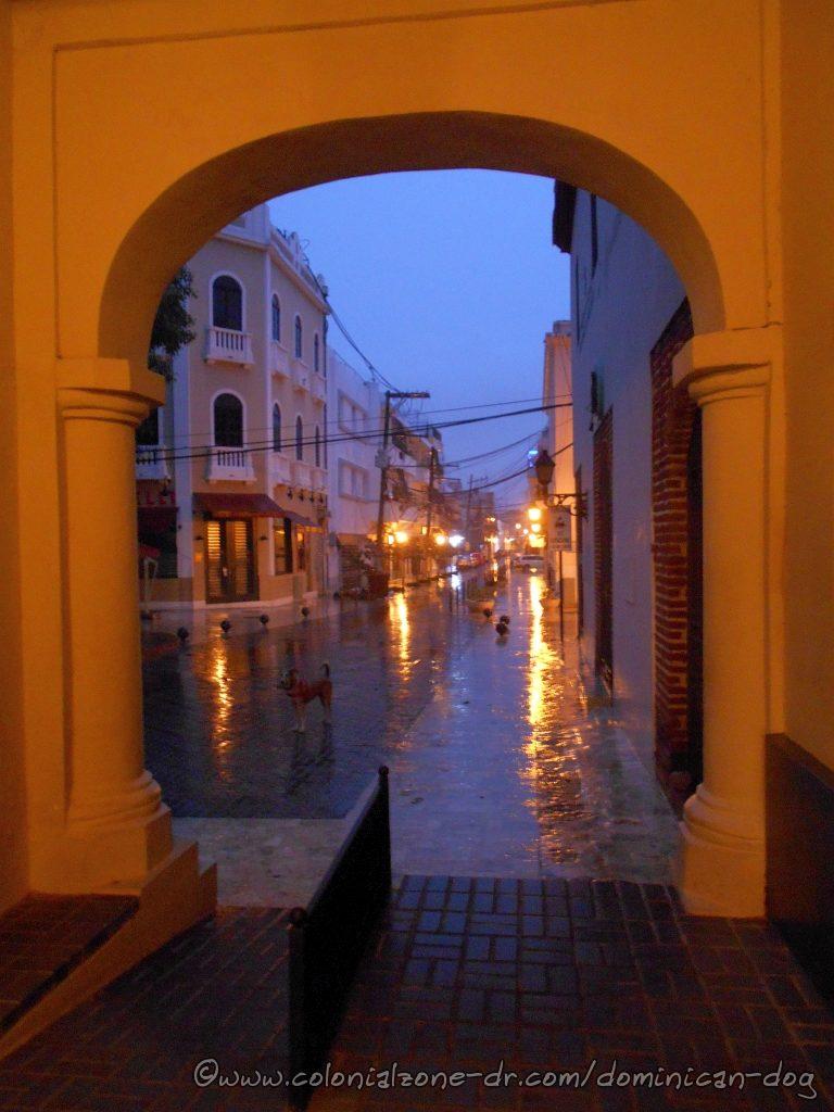 Caught in a rain storm at the Palacio de Borgellá.