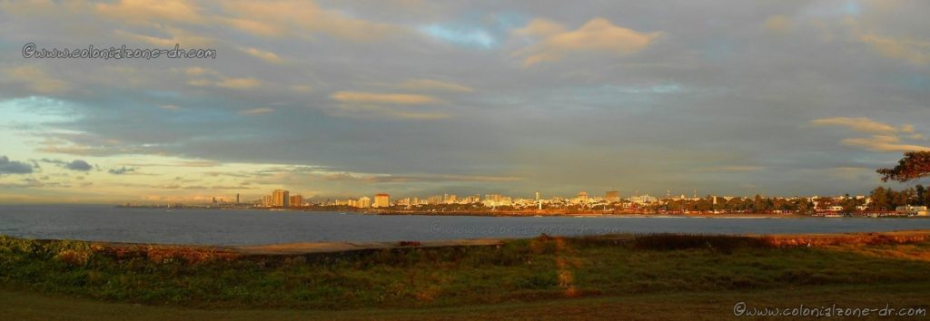 Panorama view of Santo Domingo. The Caribbean Sea, Rio Ozama and the Colonial Zone as seem from the Faro at Punta Torrecilla.