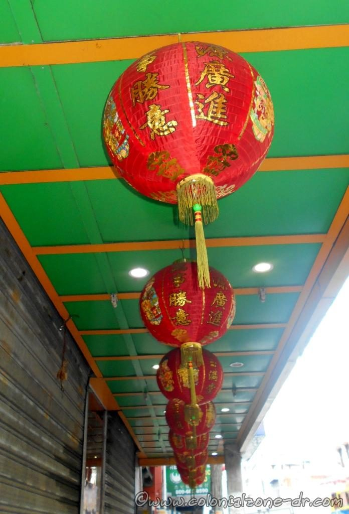 Chinese Paper Lanterns hang in the streets of Barrio Chino