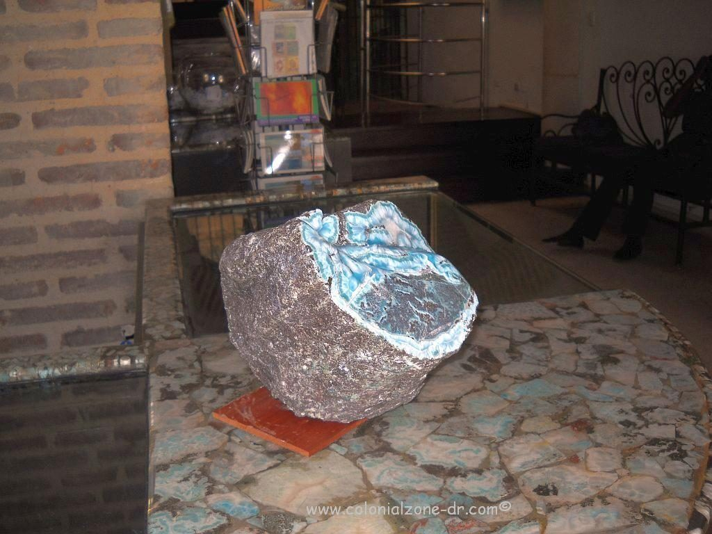 A large piece of raw Dominican Republic Larimar that can be seen in the Larimar Museum in the Colonial Zone