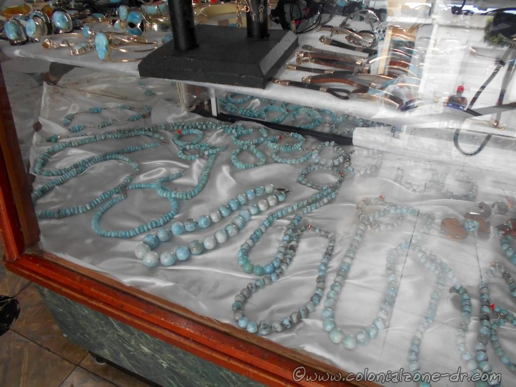 Larimar jewelry sold in a gift shop in the Colonial Zone, Dominican Republic.