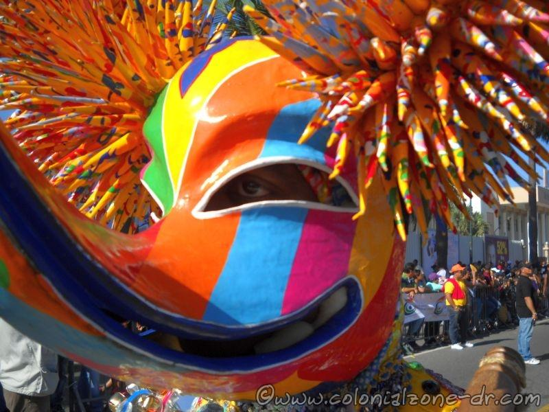 Close-up of a mask where you can see human eyes inside