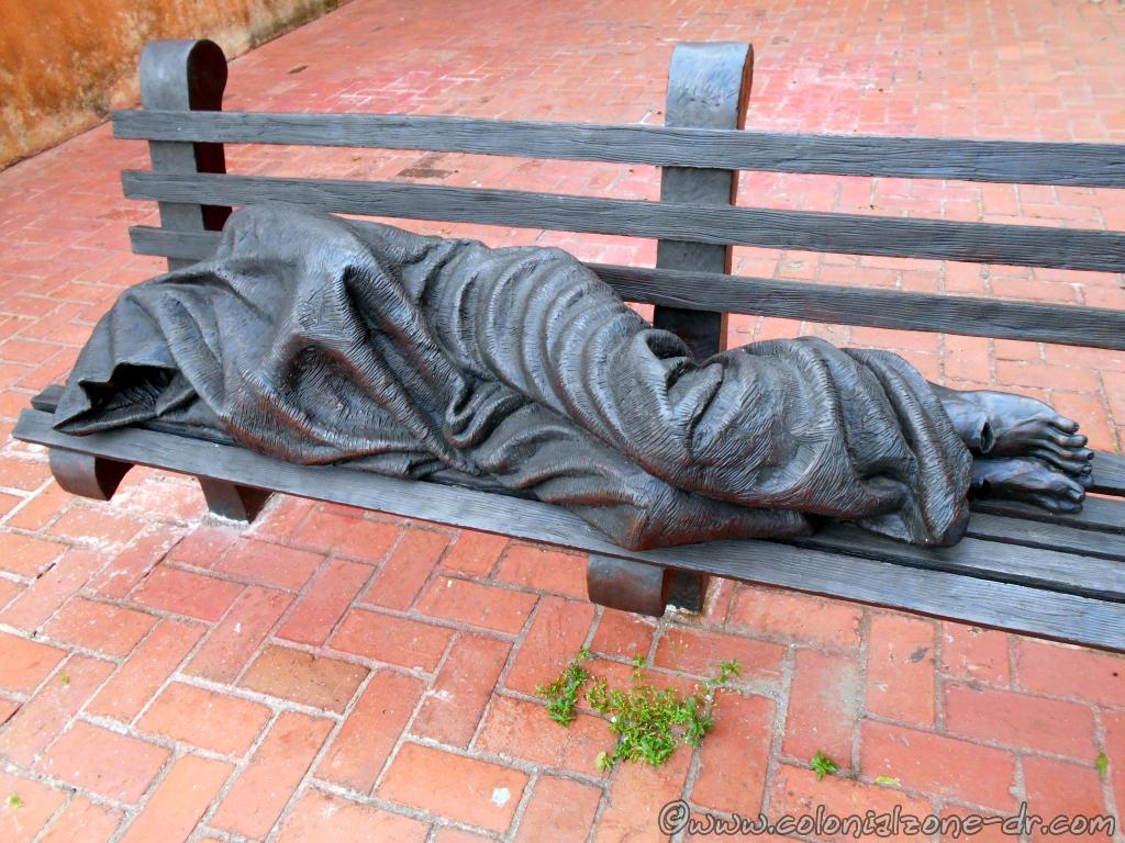 "The sculpture ""Homeless Jesus"" / ""Jesús Desamparado"" located at the Monastery and Church of the Dominican Fathers, Ciudad Colonial, Santo Domingo, Dominican Republic."