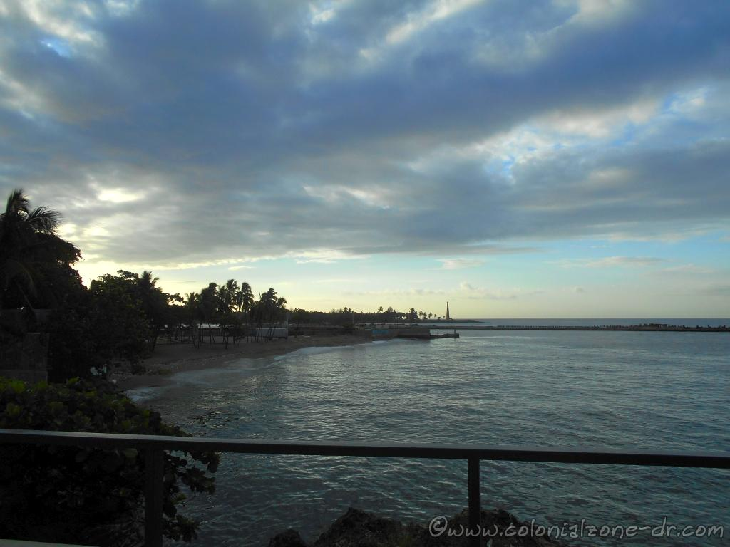 The view of the mouth of Rio Ozama at the Caribbean Sea with the Faro San Souci in the distance. Picture is taken from Playita Montecino at the Malecon in Colonial Zone.