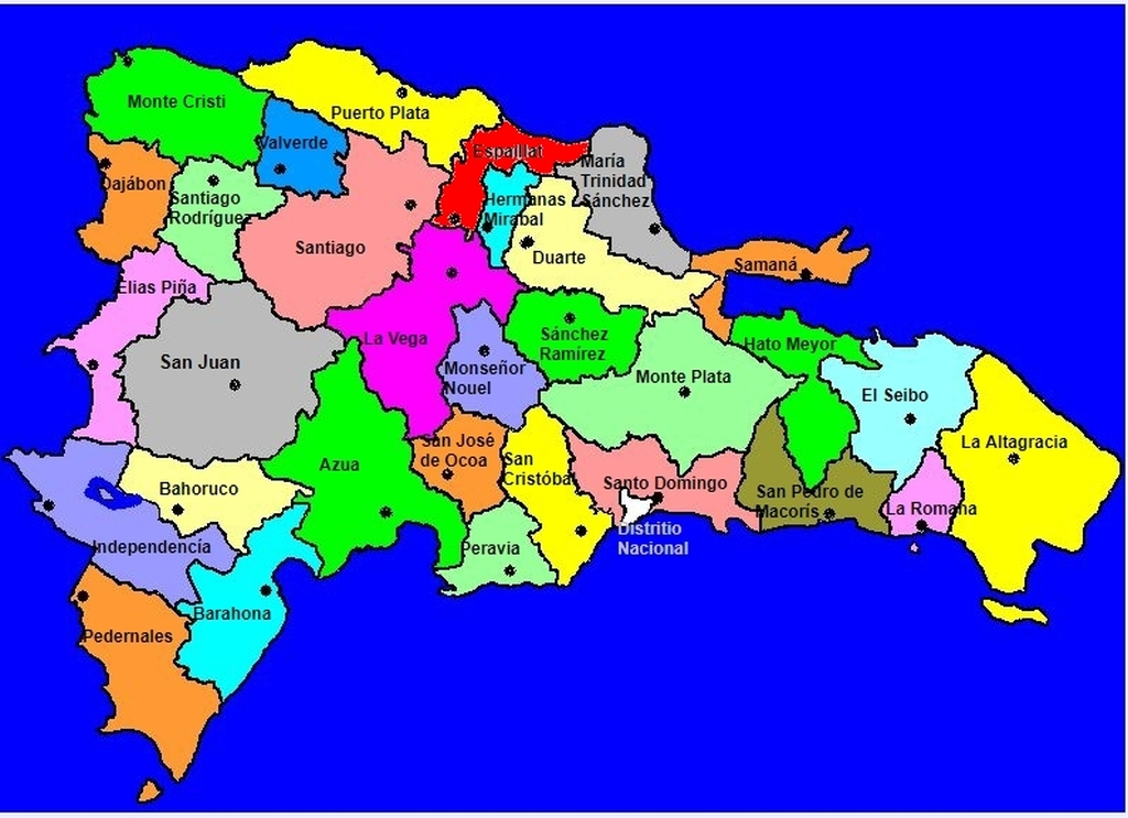 Map of the Provinces of Dominican Republic