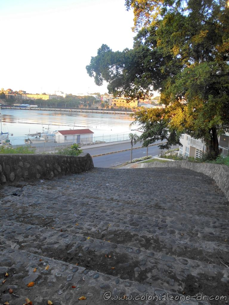 The charming winding stone staircase leading from Av. Malecon to the Plaza.