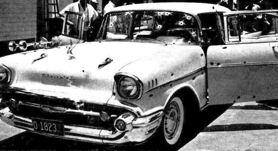 The bullet-ridden 1957 Chevrolet. Trujillo was riding inside when he was assassinated.