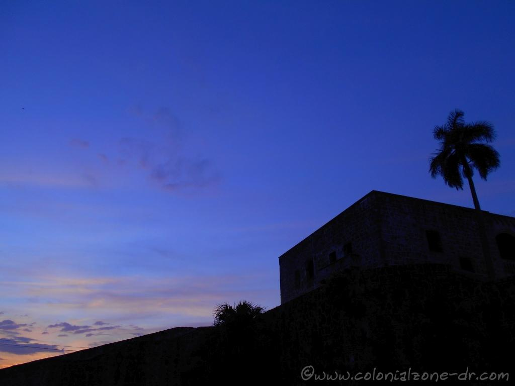 The outline of the Alcazar de Colón as the sky brightens in the early morning.