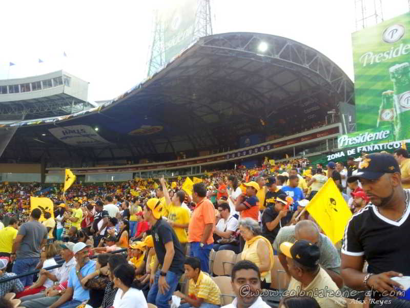 The crowds enjoying a baseball game at Estadio Quisqueya in Dominican Republic.