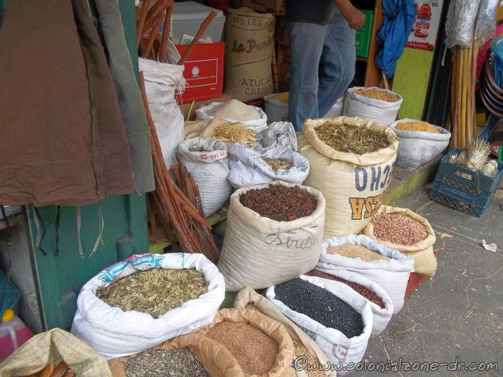 Dried beans and herbs can be found at Mercado Modelo