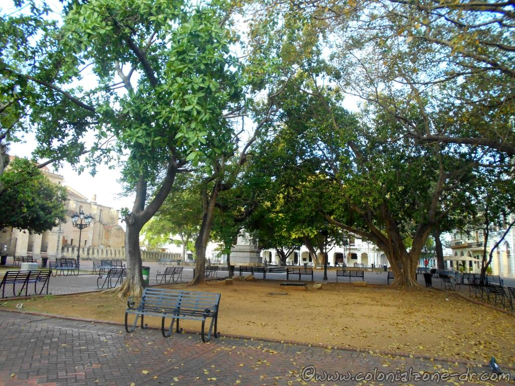 Parque Colón and the Cathedral of Santo Domingo in the Colonial Zone with its beautiful trees and benches for relaxing